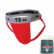 "Clearance MM Original Edition Bike Style Adult Supporter 2"" Waistband Jock Strap Underwear Red/Grey"