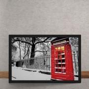 Quadro Decorativo Cabine Telefonica Vermelha Londres 25x35