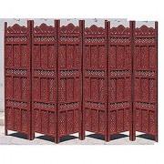 Shilpi Handicrafts Wooden Room Divider Screen Partition Made in Mango Wood Frame Jali in MDF Panel (6)