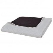 vidaXL Béžovo hnedá obojstranná prešívaná prikrývka na posteľ 220 x 240 cm
