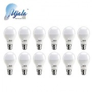 Ujala Led 9W MAX-GLOW Bulb - 100 Lumen/Watt B22 Base (Aluminium) PC Diffuser 2Year Warranty(Pack of 12)
