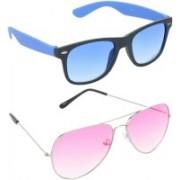 Hrinkar Wayfarer Sunglasses(Grey, Pink)