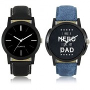 Loretta new stylish Black And Hero Dad leather strap combo watchFX-MW-003-004