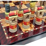 "Santa Fe Trains Steam vs Diesel Train Engine Chess Set W/ 18"" High Gloss Cherry & Burlwood Color Board"