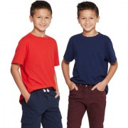 Cliths Cotton Half Sleeves Tshirt For Boys/Red And Navy Blue Kids solid Tshirts
