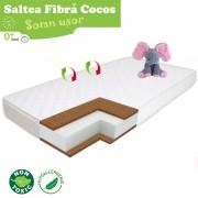 Saltea pentru patut TiBebe Somn Usor, 120x60x8, Fibra de Cocos, Husa Antialergica Lavabila, Alb