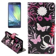 Butterfly Loves Flower Pattern Horizontal Flip Leather Case with Holder & Card Slots for Samsung Galaxy A7 / A700F