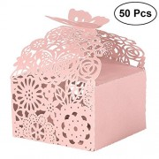 LUOEM 50PCS Wedding Favor Candy Boxes Hollow Out Bridal Shower Party Paper Gift Boxes for Wedding Party Favors Birthday Gift Decorations - Pink