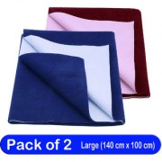Glassiano Waterproof New Born Baby Bed Protector Dry Sheet Combo Large Maroon/Royal Blue (Pack of 2)