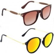 SRPM Cat-eye, Wayfarer Sunglasses(Brown, Yellow)