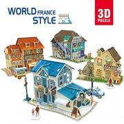 CubicFun-World Architectural House Building Model Kits 3D Puzzle,France,W3187h 161 Pieces