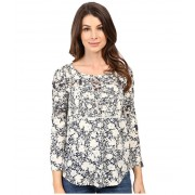 Lucky Brand Printed Mixed Trim Top Blue Multi