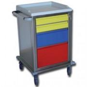 carrello modulare in acciaio inox - con 4 cassetti - serratura - 67x63