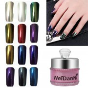 12pcs Mirror Chrome Effect Powder Set Magic Metallic Nail Art Additive Pigment Charming Manicure