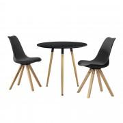 [en.casa]® Set de comedor mesa redonda negra [Ø80cm] con 2 sillas grises tapizadas