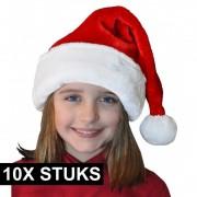 Geen 10x Pluche luxe kerstmutsen rood/wit voor kinderen