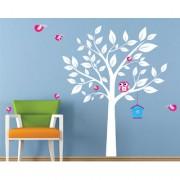 EJA Art cute white tree pink owl bird Wall Sticker (Material - PVC) (Pec - 1) With Free Set of 12 pec butterflies sticker
