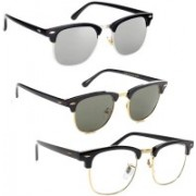 INSH Clubmaster Sunglasses(Black, Silver, Clear)