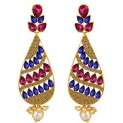 Spargz Antique Gold Plated Multicolor AD Stone Big Long Indian Style Dangle Chandelier Earrings For Women AIER 1344