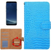 Let op type!! Samsung Galaxy S8 / S7 Edge & Huawei P9 Plus horizontaal Krokodil structuur PU leren universeel Flip Hoesje voor 5.3-5.5 inch telefoon met foto frame en opbergruimte voor pinpassen (blauw)
