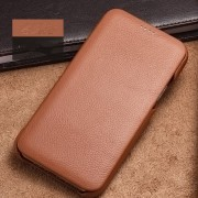 XOOMZ Curved Edge Litchi Surface Genuine Leather Cover Case for iPhone 11 6.1 inch - Brown