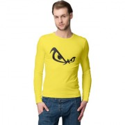 Cliths Men's Yellow Slim Fit Full Sleeves Printed T-shirt/ Round Neck Full Sleeve Tshirt