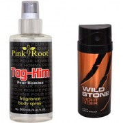 Wild Stone Night Rider Body Deodorant 150ml and Pink Root Tag-Him Pour Homme Fragrance body Spray 200ml Pack of 2
