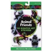 Animal Friends: Scratch Art Stickers Pack + FREE Melissa & Doug Scratch Art Mini-Pad Bundle [58278]