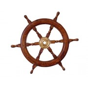 "Handcrafted Model Ships Deluxe Class Wood and Brass Decorative Ship Wheel 24"" - Nautical Home Decora"