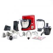Robot de bucătărie TEFAL Masterchef Gourmet QB505G38, 900 W, Bol 4,6 L, Blender 1.5 L, Accesorii patiserie, Masina de tocat, Storcator, 7 Functii, Rosu