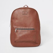 River Island Mens Light Brown RI monogram trim rucksack (One Size)
