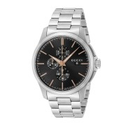 【39%OFF】ラウンド クロノグラフ デイト ウォッチ メンズ フェイス:ブラック ベルト:シルバー ファッション > 腕時計~~メンズ 腕時計