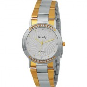 Howdy Crystal Studded Analog Silver Dial With Golden & Silver Stainless Steel Strap Watch