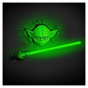 Set 2 Lamparas 3D Star Wars Yoda Cabe Y Sable Lightsaber Jedi Master The Force Awakenes-Negro