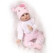 """GAW Toys Soft Hair Rooted Realistic Reborn Baby Dolls Soft Silicone 22"""" /55cm Lifelike Newborn Doll Girl Xmas"""