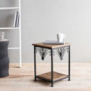 Onlineshoppee Wooden Iron End Table Walnut And Black Size(LxBxH-11X11X14.7)