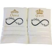 Set 2 prosoape de baie alb 70 x 140 cm personalizat prin broderie cu coroana text si nume . Dede Brodi Star