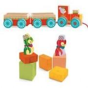 DJECO Drewniany pociąg JUNZO - z klockami i figurkami, 18 m+, DJ06442