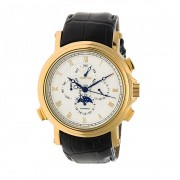 Heritor Automatic Kingsley Leather-Band Watch w/Day/Date - Gold/White HERHR4803