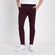 River Island Mens Burgundy super skinny stretch chino trousers (Size 34 long)