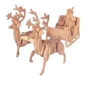 Wembley 3D Natural Wood Santa and Reindeer Sleigh Puzzle
