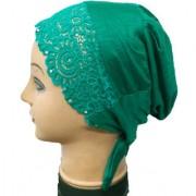 Hijab TURQUOISE LACE RHINESTONE TIE BACK BONNET Cap Abaya Women Hair Hat Ladies Under Scarf Stole Kitchen Pregnancy Head