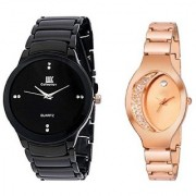 IIK Collection Black With Rose Gold Oval Dile Analog watch For Men And Women Combo And Cupple Watch