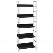 vidaXL Етажерка за книги с 5 рафта, черна, 60x27,6x158,5 см, ПДЧ