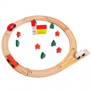 Lakshya-Wooden Car Track Set|Wooden Slot Car Set | 2:-Cars 1:-Bus 5:-Trees 2:-Houses 4:-Peoples(red Dummy) 9:-Total Wooden Tracks | Assemble The Set and Enjoy The Game