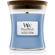 Woodwick Sea Salt & Cotton lumânare parfumată cu fitil din lemn 275 g