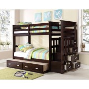 Acme 10170 Allentown espresso finish wood twin over twin bunk bed set storage drawer steps trundle