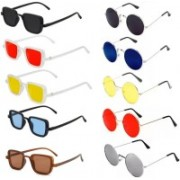 Well Shaded Rectangular, Round Sunglasses(Red, Yellow, Black, Blue, Brown, Silver)