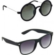 Hrinkar Round Sunglasses(Green, Grey)