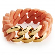 The Rubz Natural Silicone 20mm Unisex Bracelet Nude & Gold